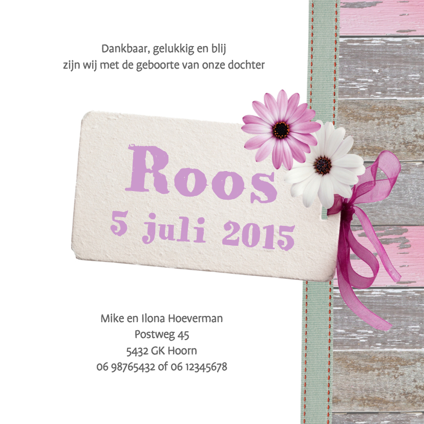 Lief kaartje meisje hout label bloem 3