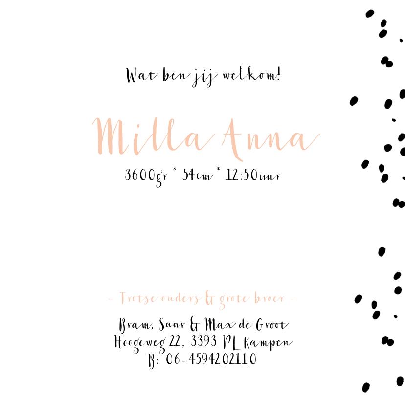 Lief maar ook stoer geboortekaartje met confetti stipjes 3