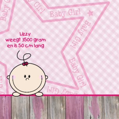 Lief meisje geboren roze ruit  2