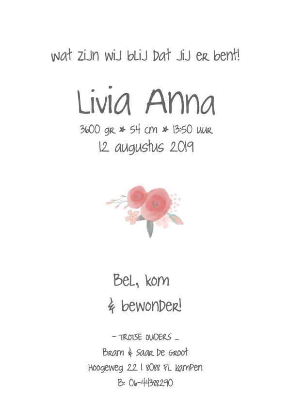 Lief meisjeskaartje met watercolor bloemen 3