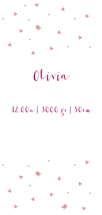 Lief roze geboortekaartje voor meisje met roze details. 3