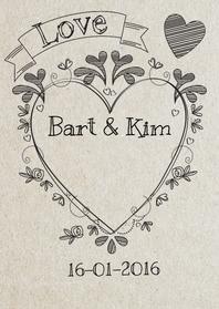Trouwkaarten - Lijntekeningen trouwen