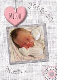 Geboortekaartjes - Linnen hart stikselsprint & foto