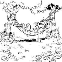Kleurplaat kaarten - Loeki de Leeuw vakantie
