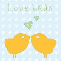 Liefde kaarten - Love Birds yellow