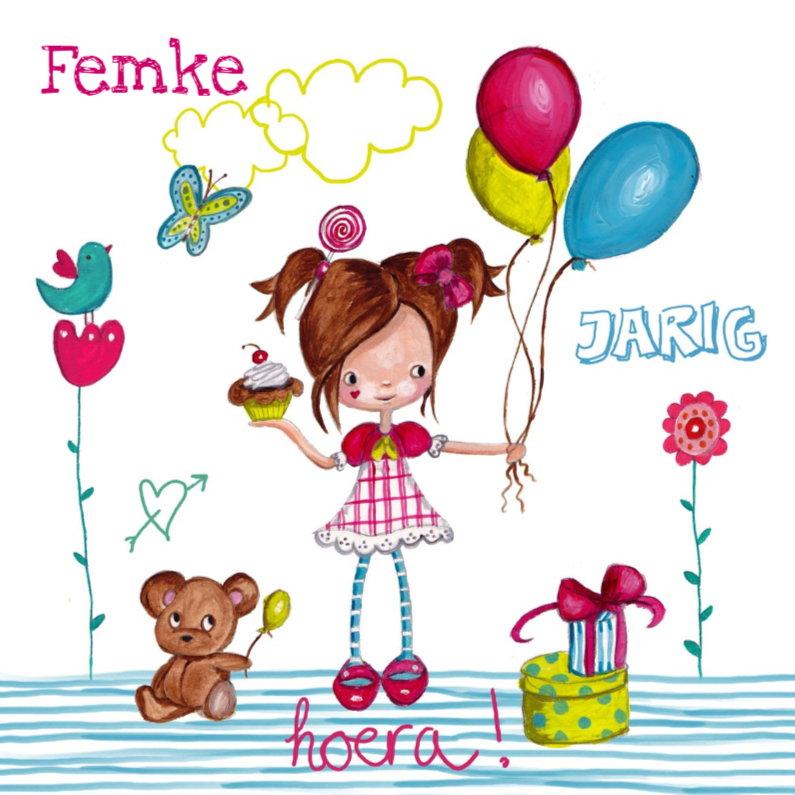 Meisje Ballonnen Jarig Tekening Verjaardagskaarten