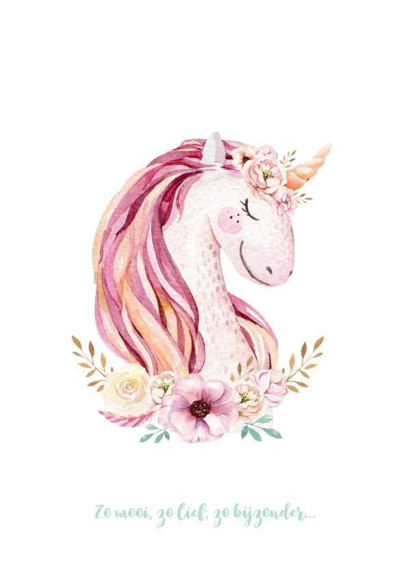 Meisjes geboortekaartje lieve unicorn 2