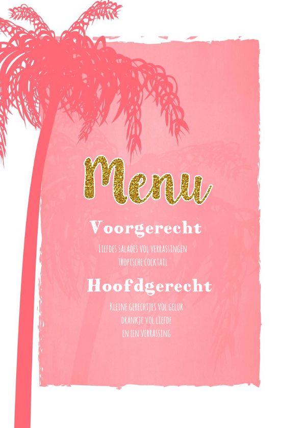 Menu beach palm roze 2