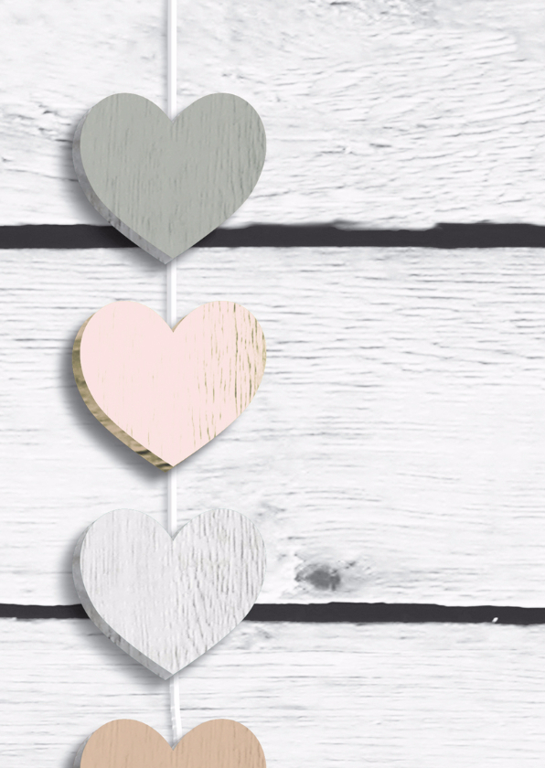Menu huwelijk Harten hout licht 2
