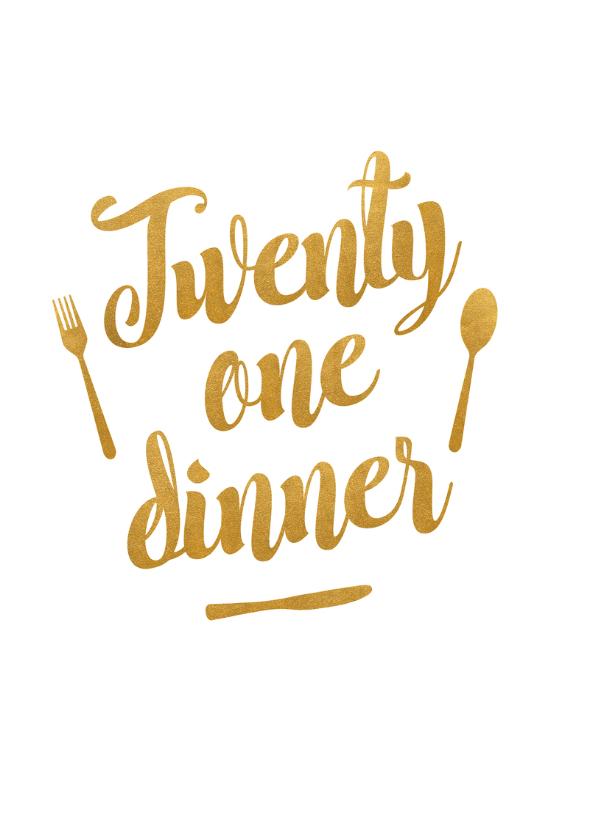 Menukaart 21 dinner met gouden tekst en bestek 2