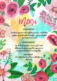Menukaarten - Menukaart bloemen geschilderd