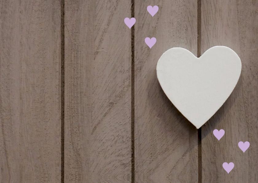 Menukaart houtlook hartjes paars 2