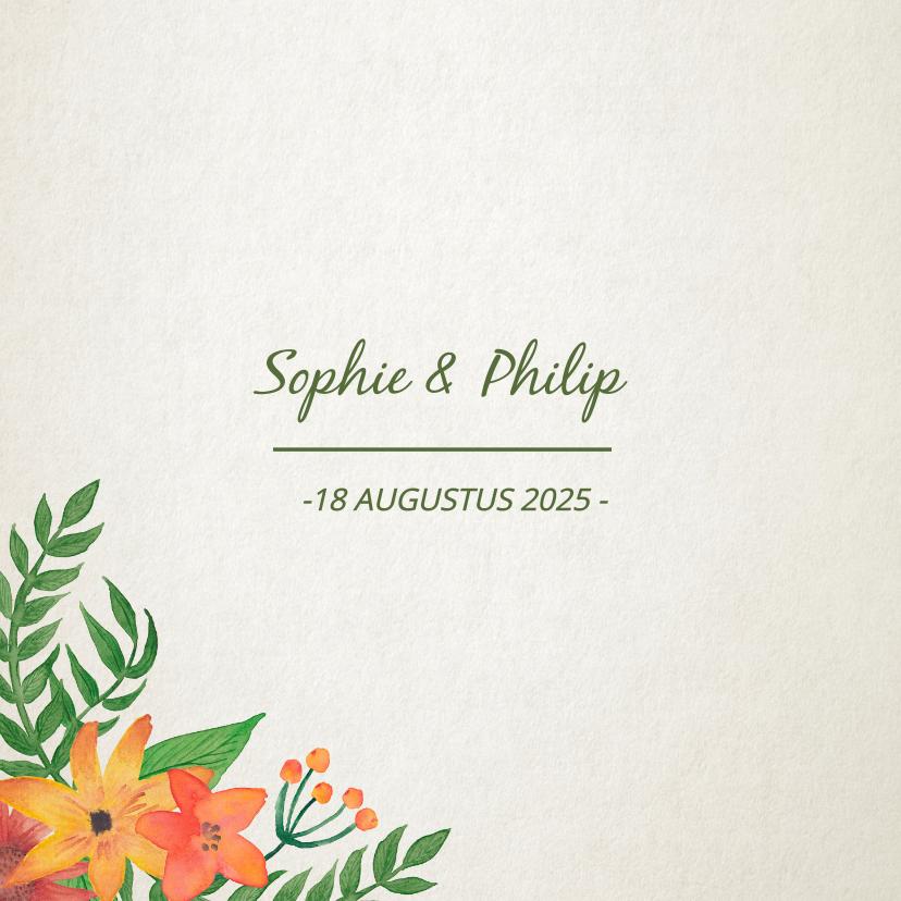 Menukaart trouwen met botanische bloemen 2