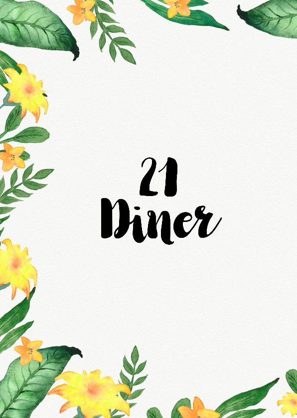 Menukaart voor bijvoorbeeld een 21 diner of tuinfeest 2
