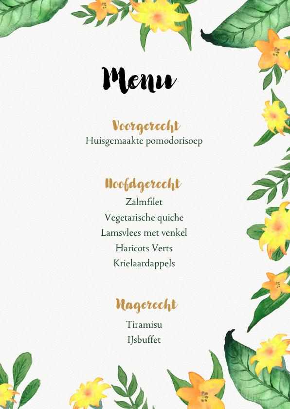 Menukaart voor bijvoorbeeld een 21 diner of tuinfeest 3