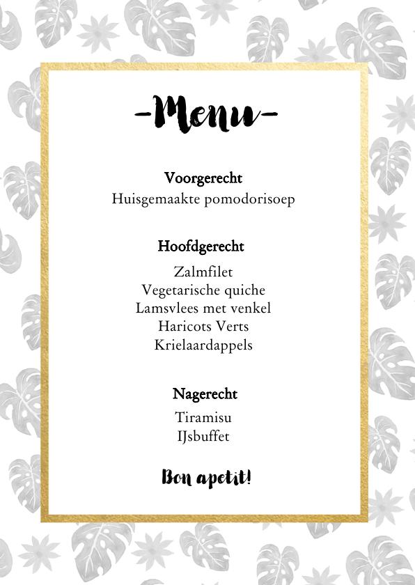 Menukaart voor een 21 diner met botanische print 3