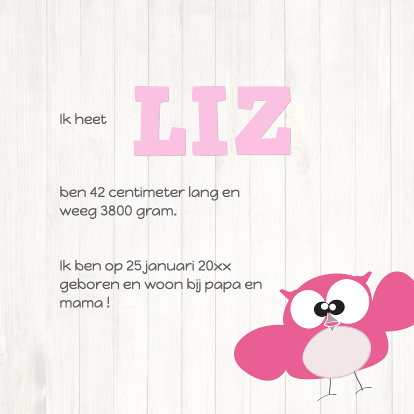 Mo Card Geboortekaart lief meisje uil houtachtergrond 3