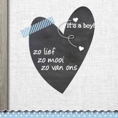 Modern geboortekaartje jongen hout 2
