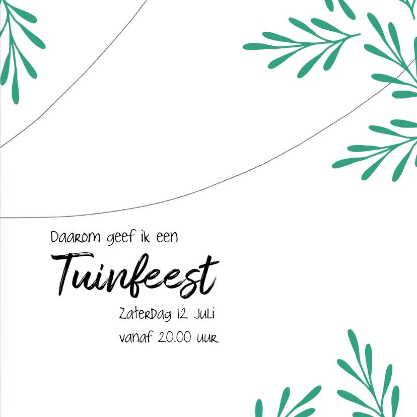 Moderne uitnodiging voor een tuinfeest in groen en blauw. 3