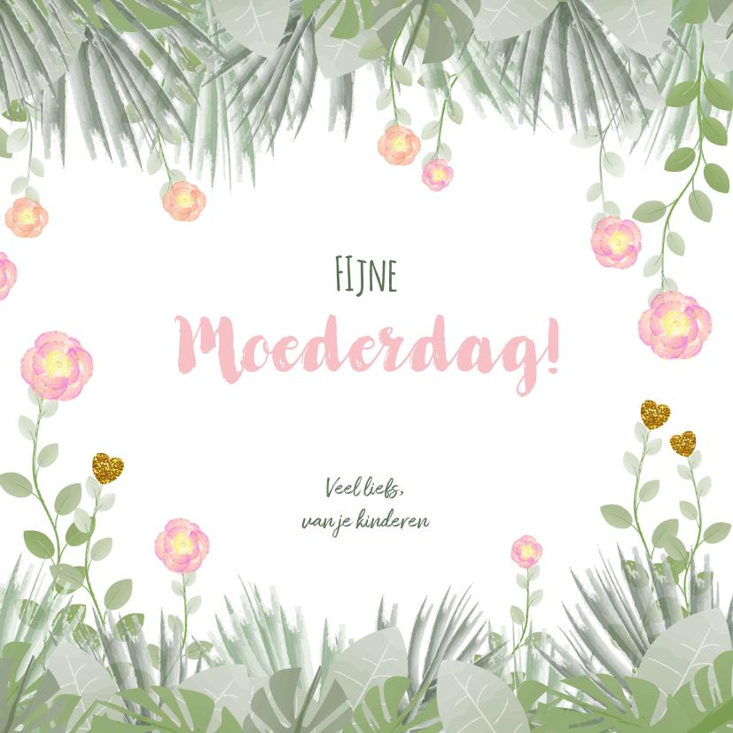 Moederdag hippe kaart bloemen en botanica 3