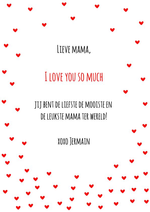 Moederdag kaart hartjes rood I love you 3