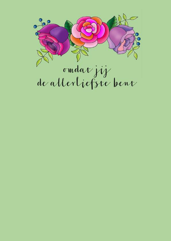 Moederdag kaart Kat met bloementooi - SK 3