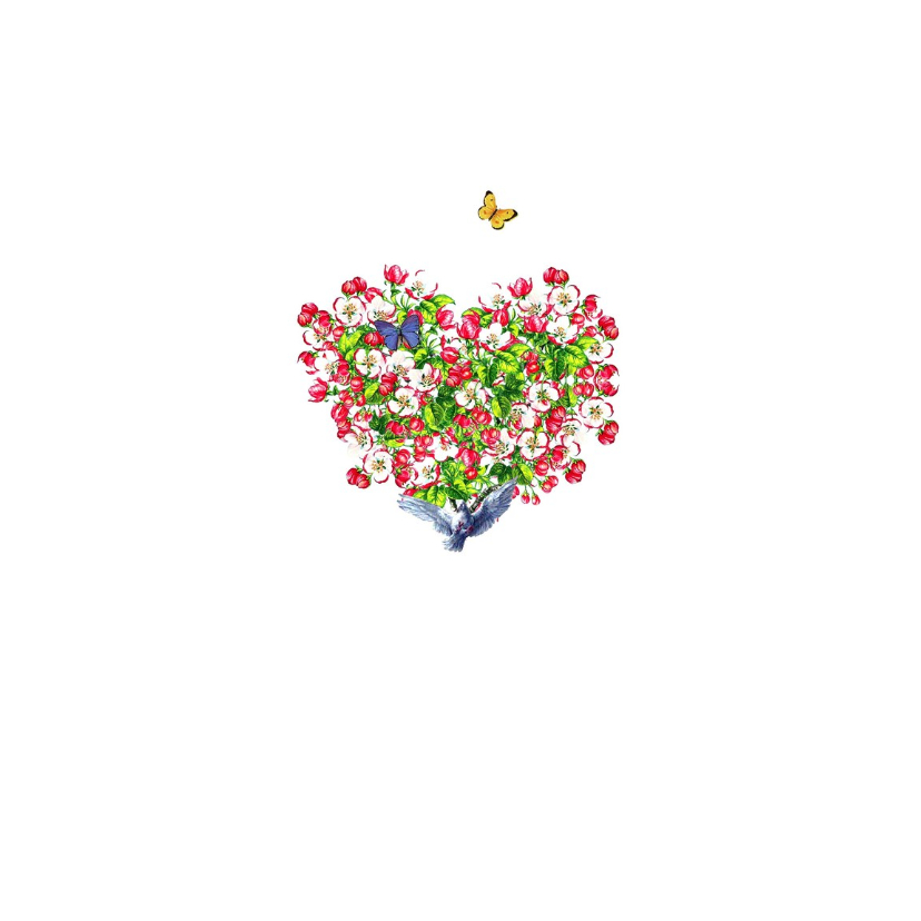 Moederdagkaart met hart van kersenbloesem bloemen 2
