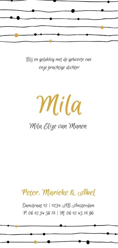 Monochrome geboortekaartje met geel achterkant
