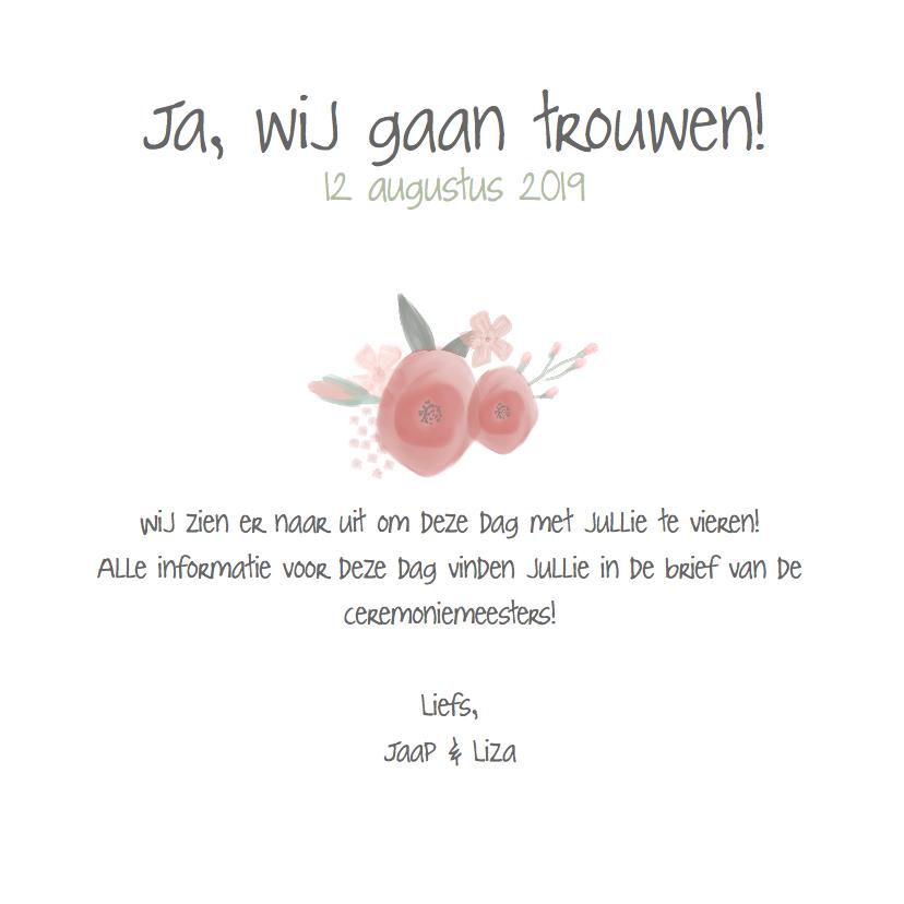 Mooi Bohemian trouwkaartje met watercolor bloemen 3