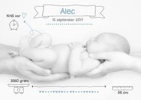 Geboortekaartjes - Mooi geboortekaartje Foto Alec