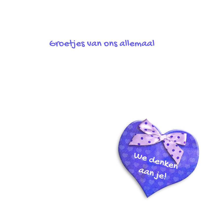 Mooie beterschapskaart Anemonen met blauw hart en strikje 3