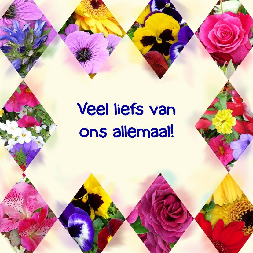 Mooie beterschapskaart segmenten met bloemen 3
