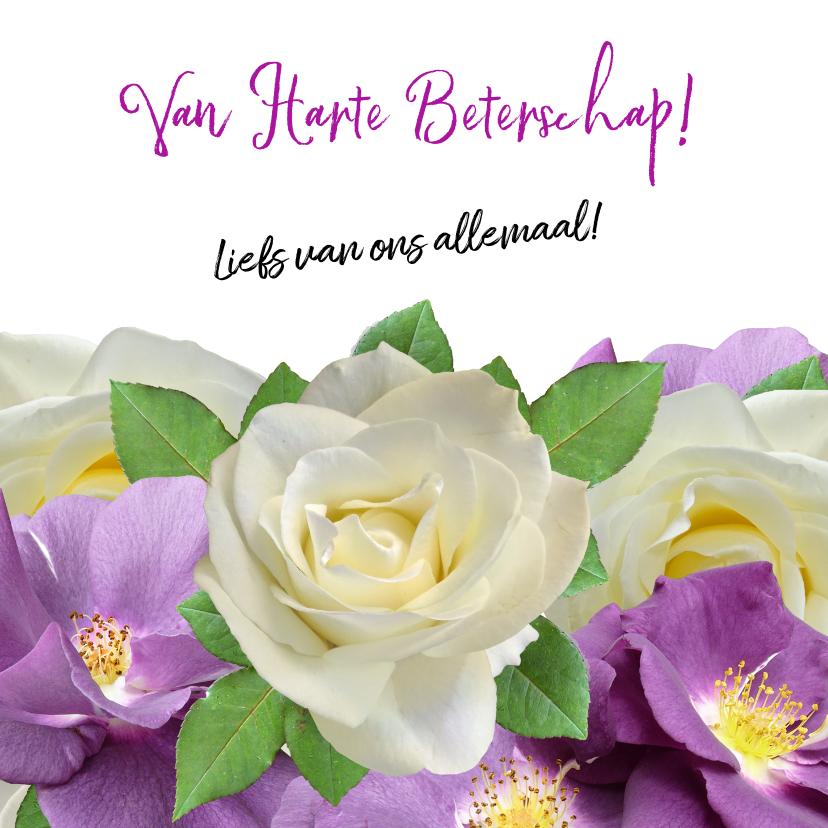 Mooie beterschapskaart wilde en witte rozen voor de zieke 3