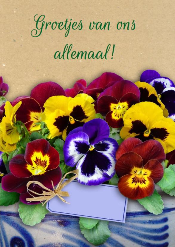Mooie bloemenkaart lentebloemen in het voorjaar 3