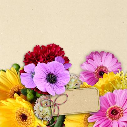 Mooie bloemenkaart met diverse bloemen en labeltje 3