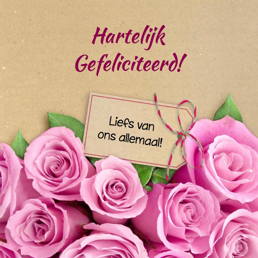 Mooie bloemenkaart met eigen foto tussen roze rozen 3