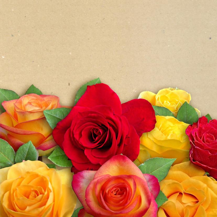Mooie  bloemenkaart met mooi boeket rozen 3