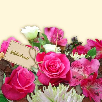 Mooie bloemenkaart met Rozen en Chrysanten in boeket 3