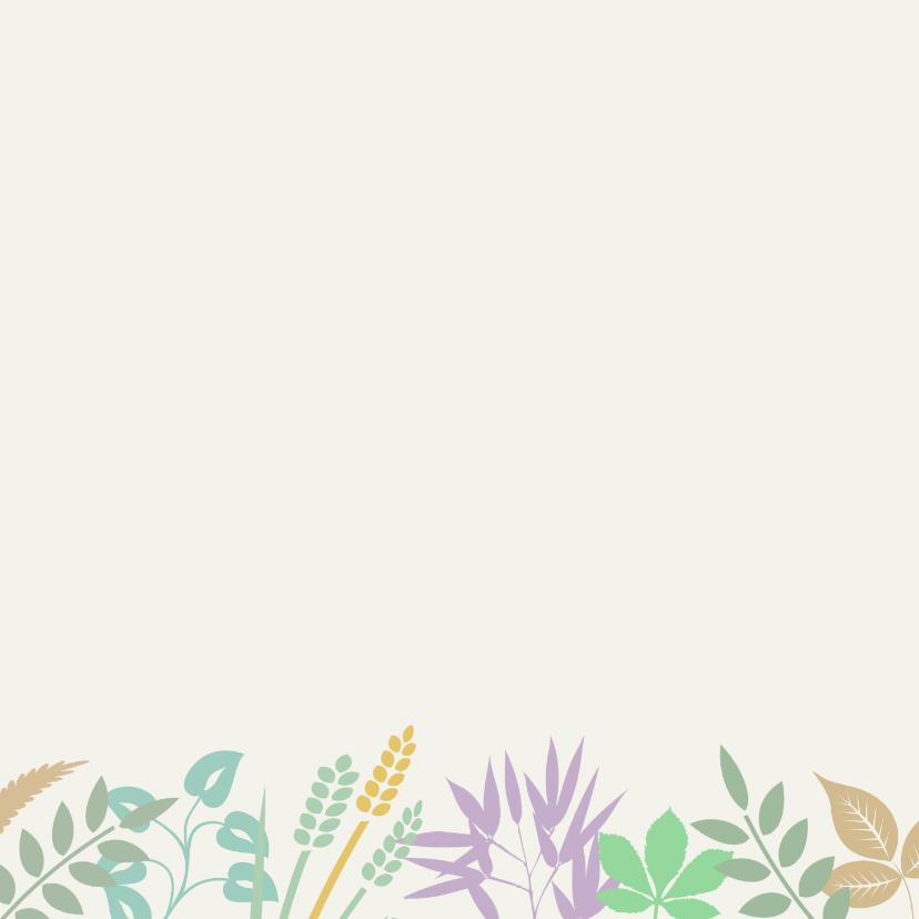 Mooie condoleancekaart blaadjes en takjes in pasteltinten 2