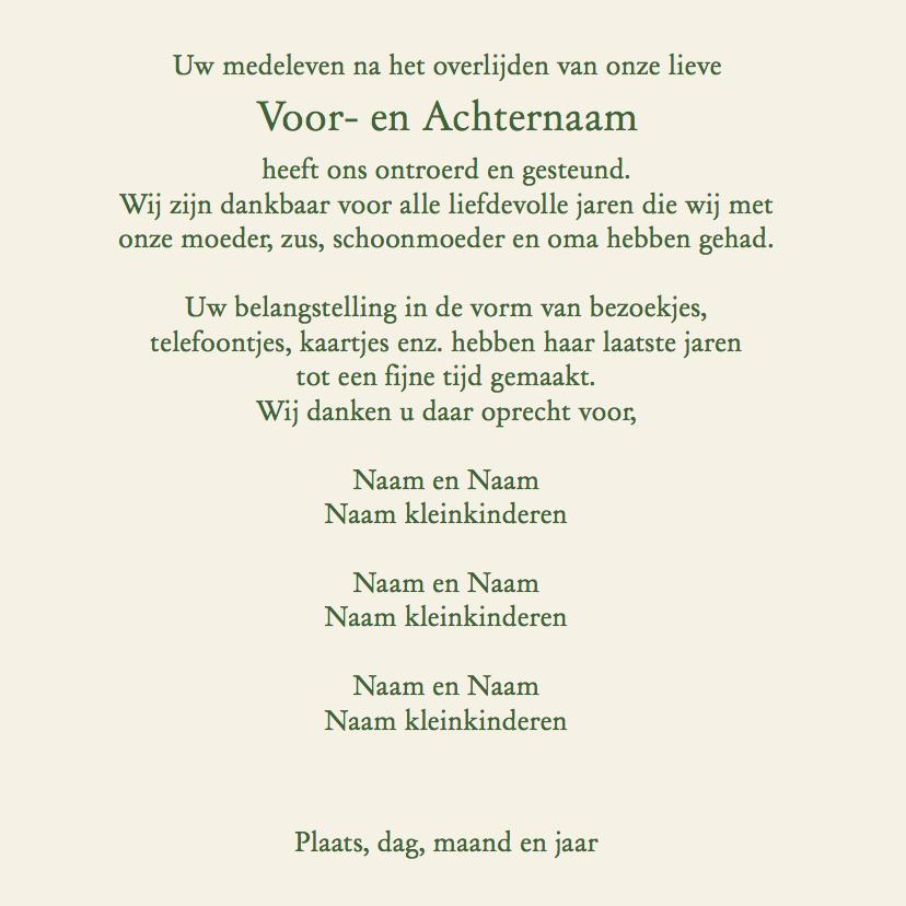 Mooie rouwkaart met roos en tekstvoorstel aan binnenzijde 3