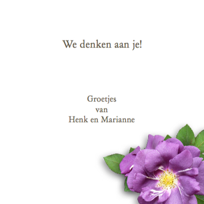 Mooie sterkte kaart met paarse rozen met kaartje 3