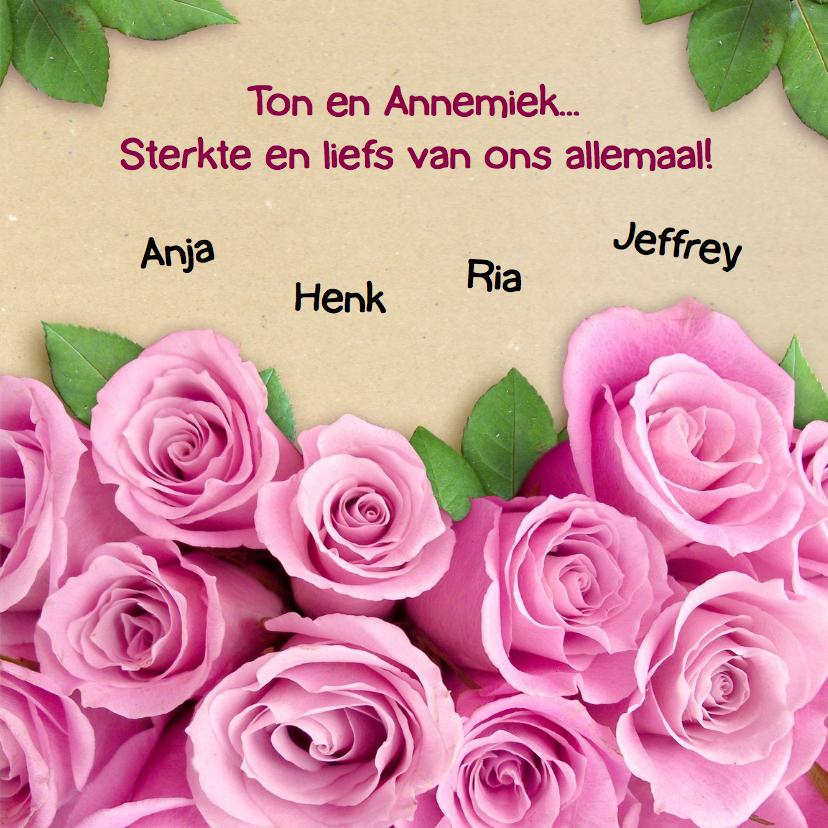 Mooie sterkte kaart met roze rozen en eigen foto 3