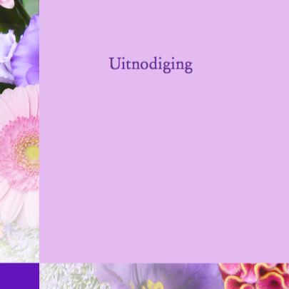 Mooie uitnodiging Bloemen met tekst 25 jaar getrouwd 3