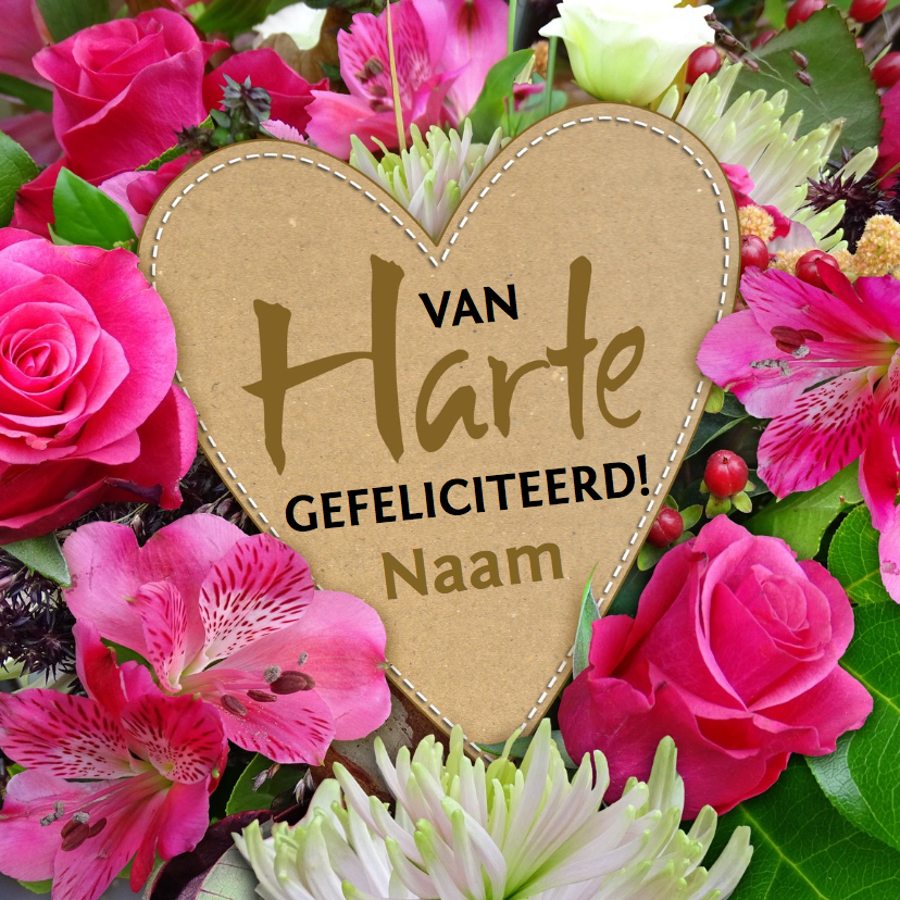 mooie verjaardagskaart hart en bloemen kaartje2go