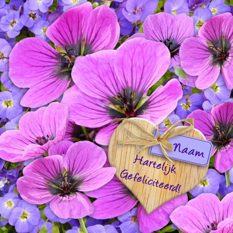 mooie verjaardagskaart met lila bloemen en kaartje2go