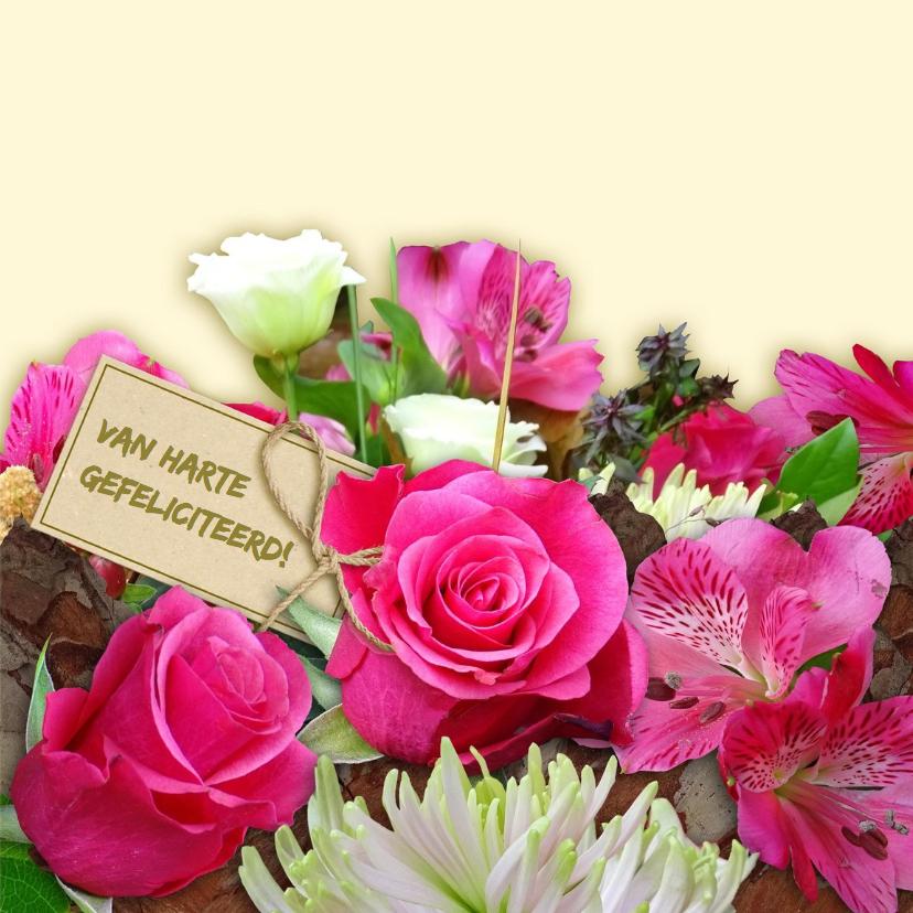 Mooie verjaardagskaart met rozen en Chrysanten 3