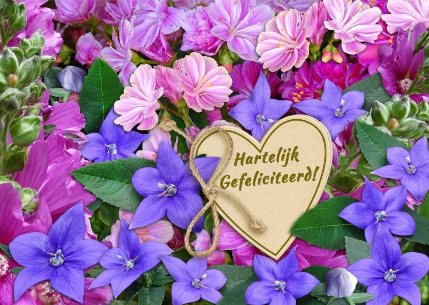 Mooie  verjaardagskaart roze en blauwe bloemetjes 3