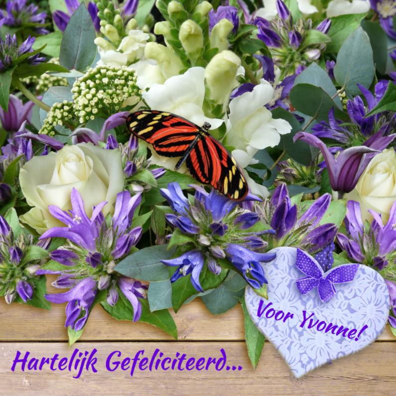 mooie verjaardagskaart vlinder op bloemen en kaartje2go