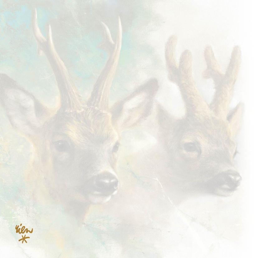 Natuurkerstkaart met portret van twee reebokken 2