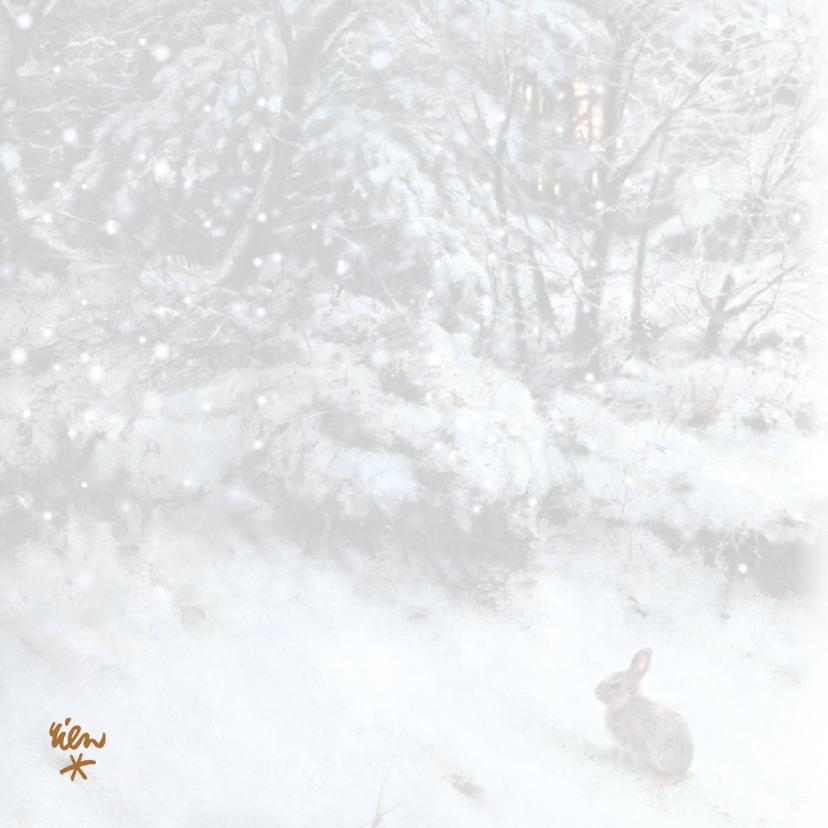 Natuurkerstkaart wintertafereel konijn in sneeuw 2